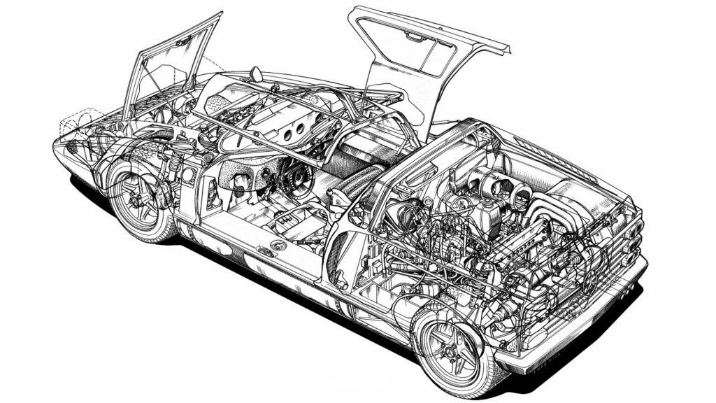 Röntgenzeichnung des Mercedes-Benz Experimentalfahrzeugs C 111 in seiner ersten Ausführung. Der Kastenrahmen und die als Überrollbügel ausgebildete, hintere Trennwandumrahmung sind gut zu erkennen.X-ray drawing of the Mercedes-Benz C 111 experimental vehicle in its first version. The box-section frame and the rear bulkhead surround, designed to serve as a roll-over bar, are clearly visible.